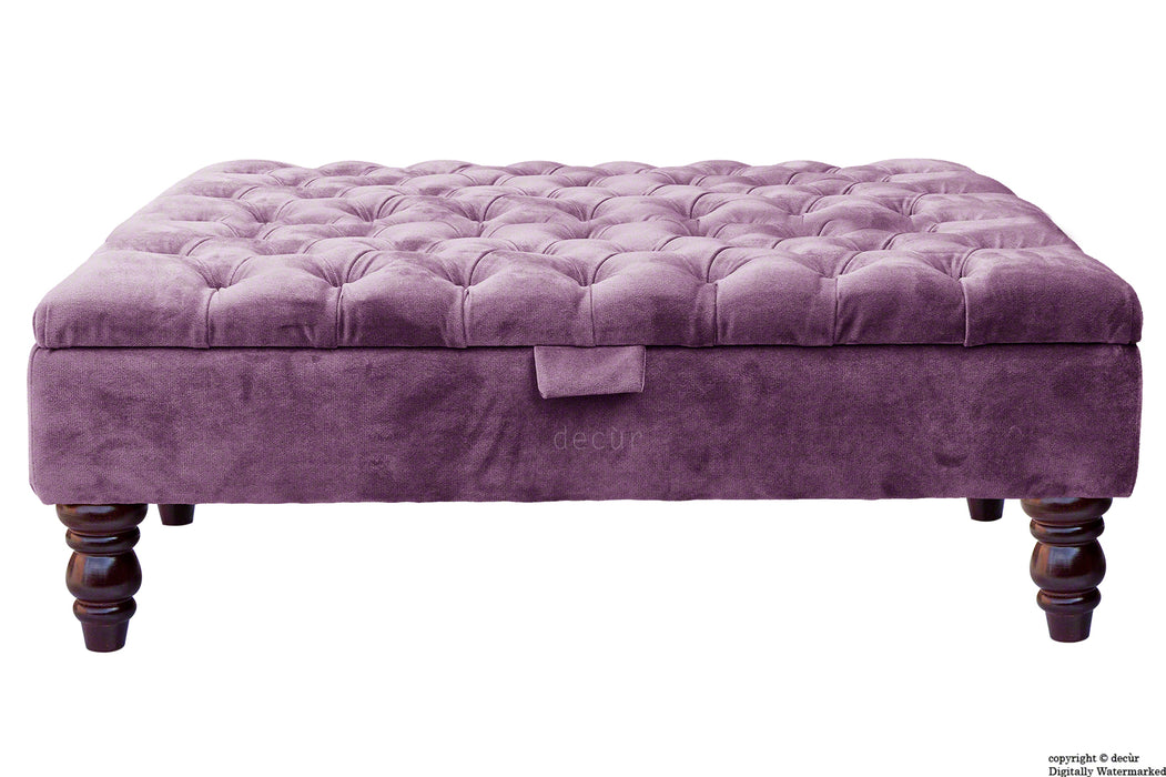 Tiffany Buttoned Velvet Footstool Large - Lavender with Optional Storage
