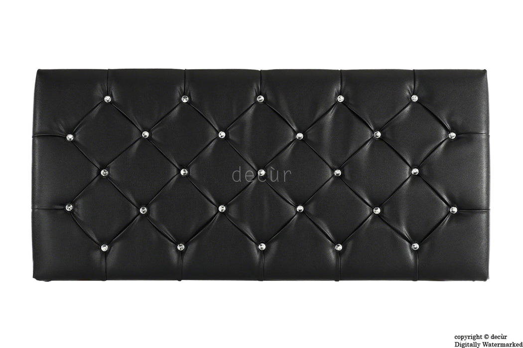 Boutique Crystal X Series Headboard - Black Faux Leather