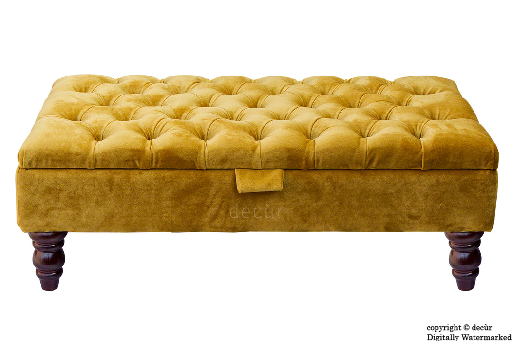 Tiffany Buttoned Velvet Footstool - Gold with Optional Storage