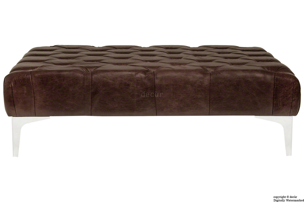 Cecil Modern Buttoned Leather Footstool - Dark Brown