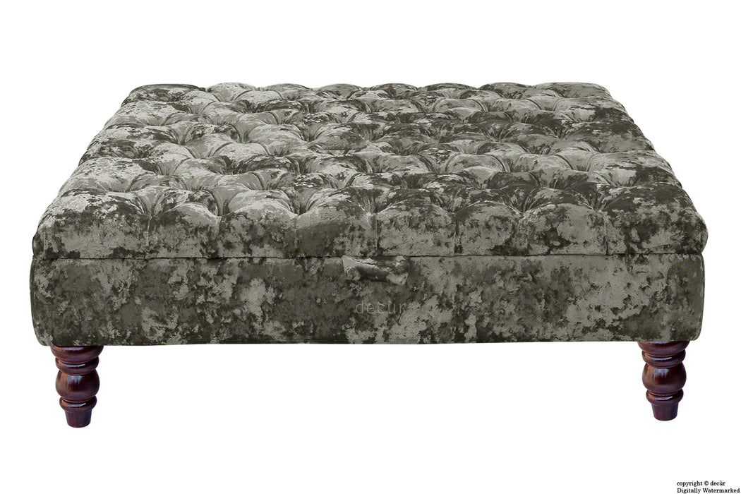 Tiffany Buttoned Crushed Velvet Footstool Large - Mistral with Optional Storage