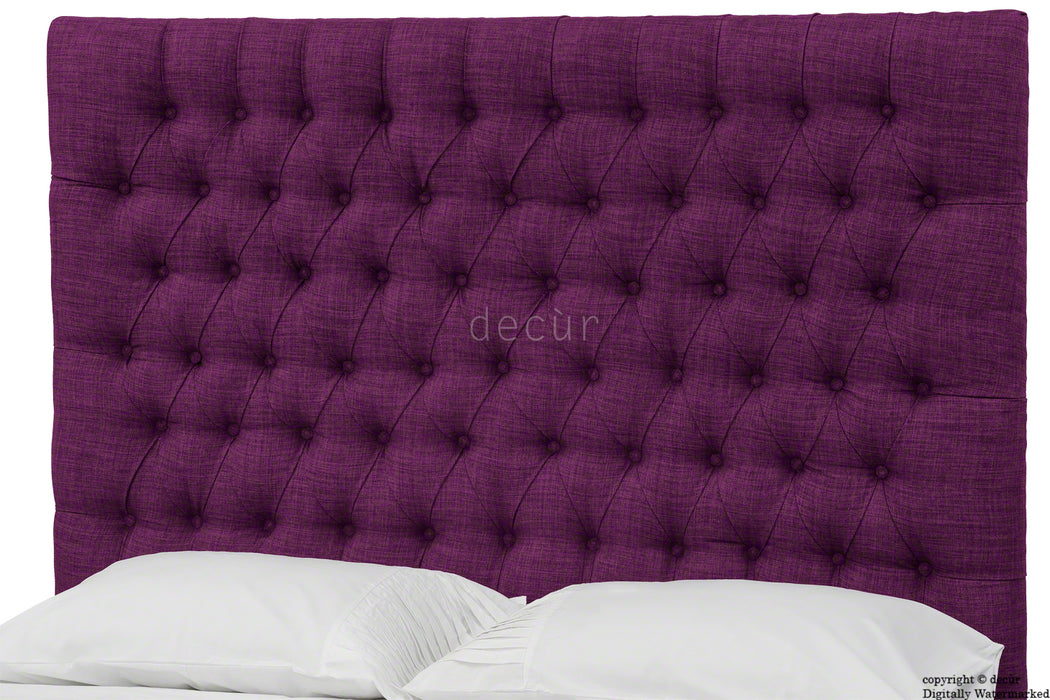 Kensington Buttoned Linen Headboard - Plum