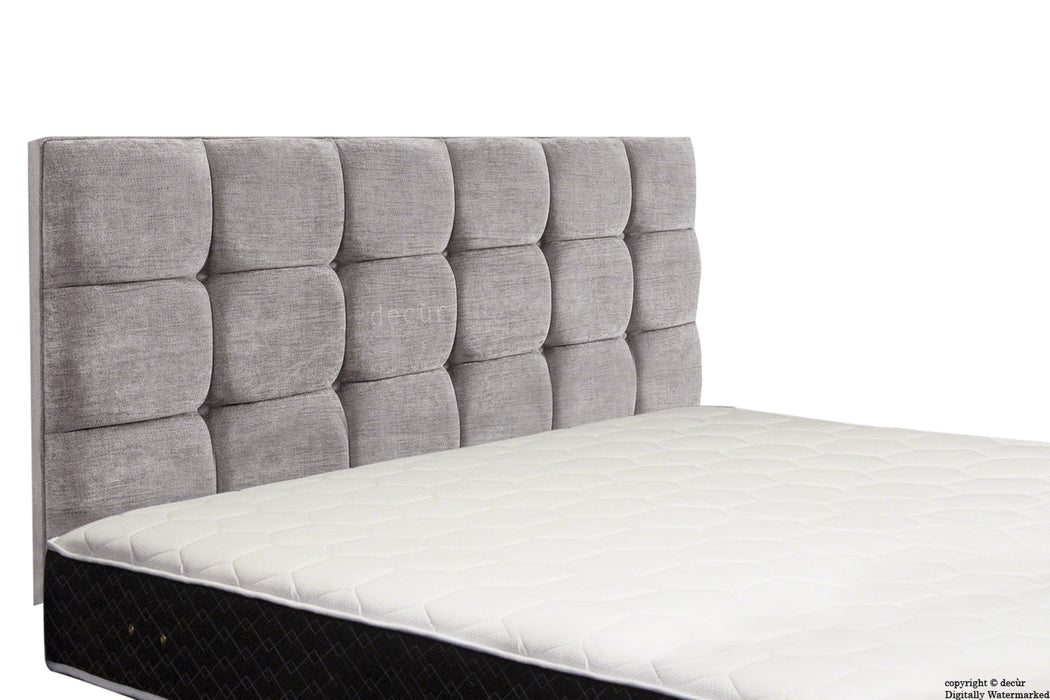 Grace Mila Buttoned 3 Tier Headboard - Silver Grey
