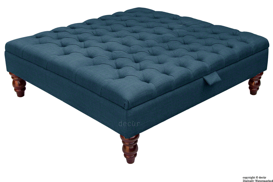 Tiffany Buttoned Linen Footstool Large - Midnight with Optional Storage