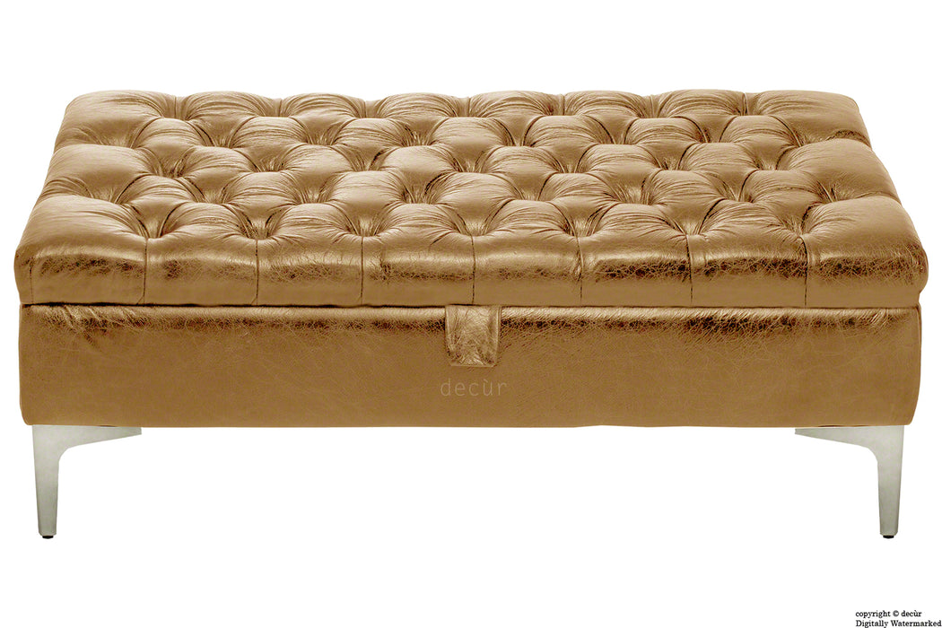Wraith Leather Vintage Footstool - Pale Ale