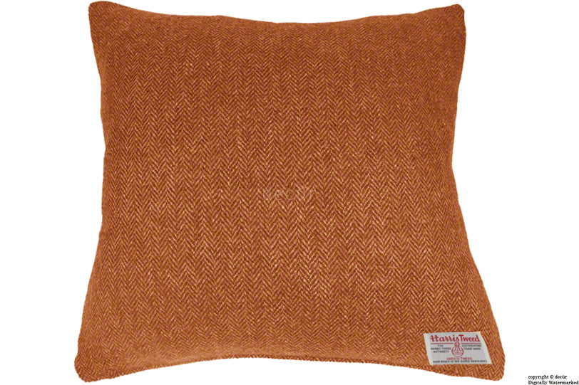 Harris Tweed Herringbone Cushion - Burnt Umber 50 CM SALE