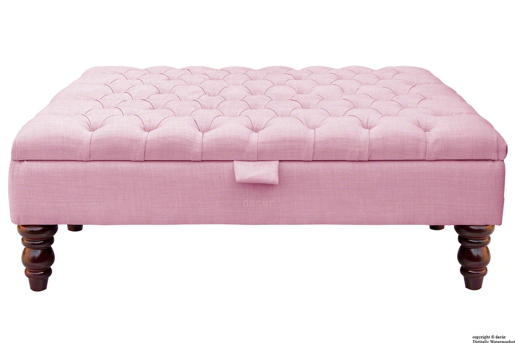 Tiffany Buttoned Linen Footstool Large - Pink with Optional Storage