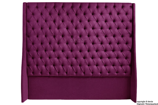 Abbingdon Buttoned Winged Velvet Headboard - Boysenberry