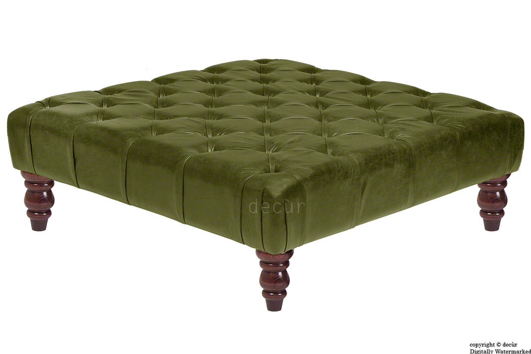 Cecil Buttoned Leather Footstool - Olive Green
