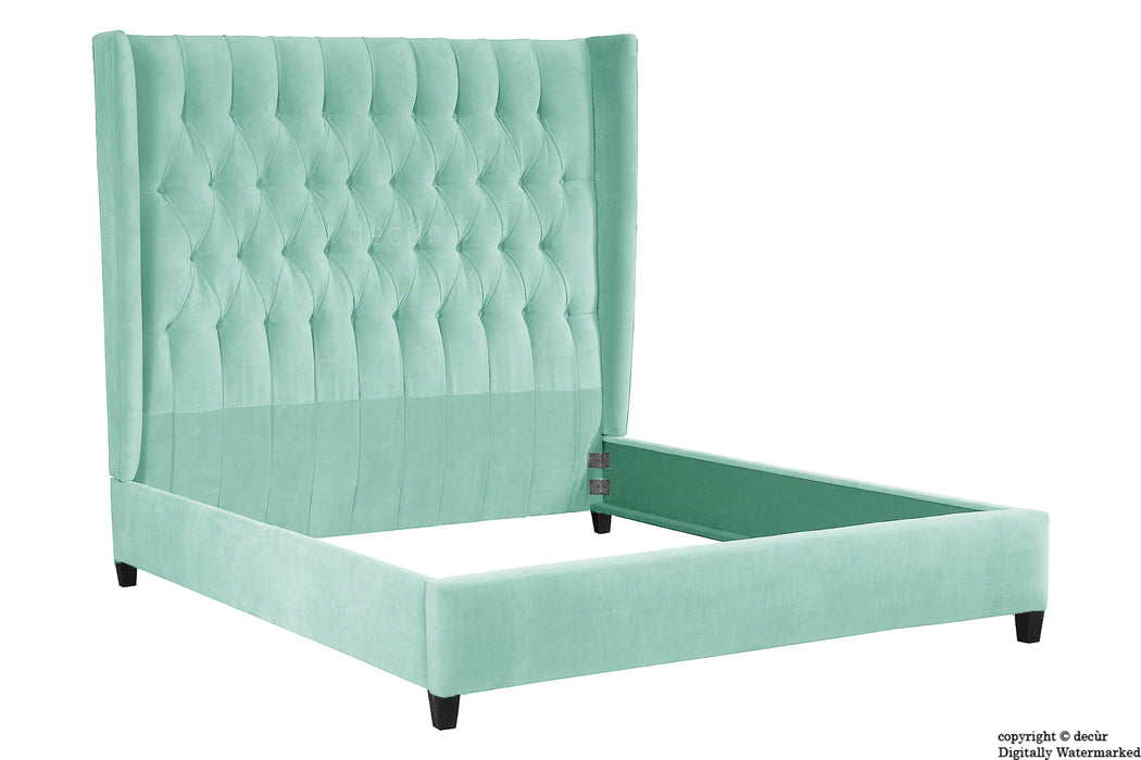 Adlington Velvet Upholstered Winged Bed - Seaspray