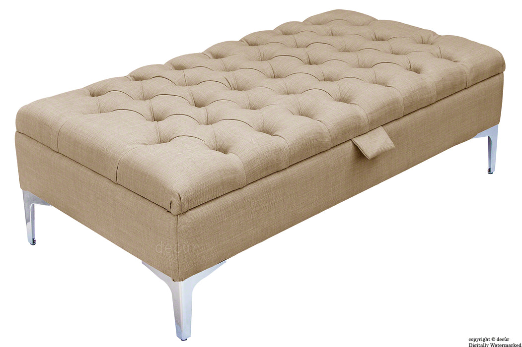 Tiffany Modern Buttoned Linen Footstool - Fudge with Optional Storage