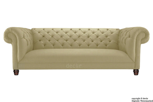Albert Chesterfield Linen Sofa - Camel
