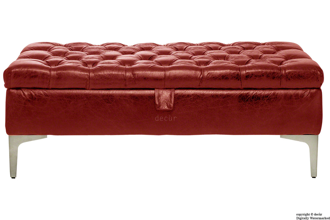 Wraith Leather Vintage Footstool - Rioja