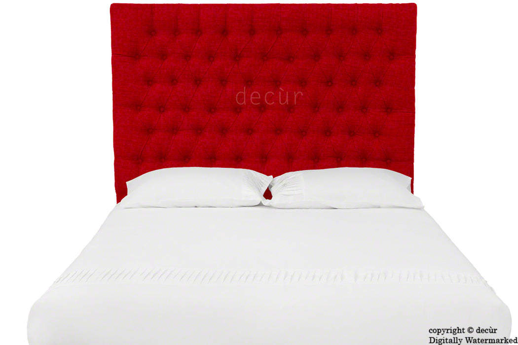 Kensington Buttoned Linen Headboard - Ruby
