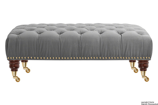 Catherine Buttoned Velvet Footstool - Seal with Optional Storage