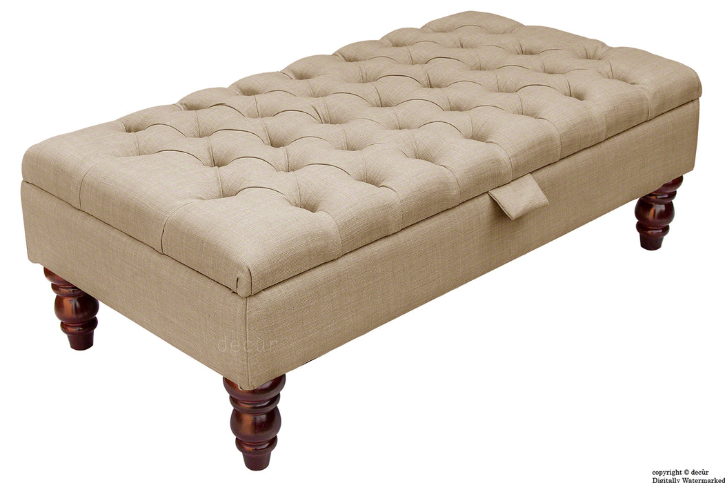 Tiffany Buttoned Linen Footstool - Fudge with Optional Storage