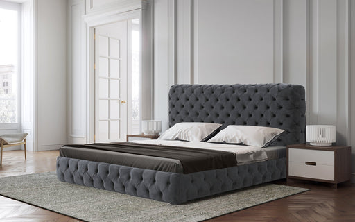 Abberton Buttoned Velvet Upholstered Bed - Charcoal