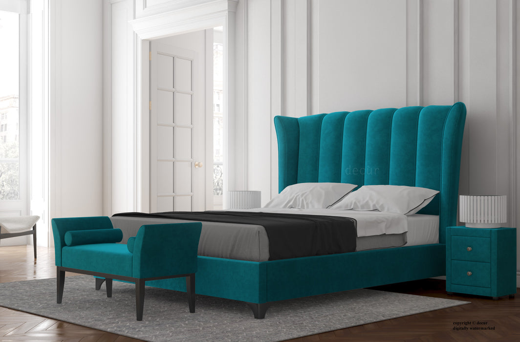 Abbotsford  Velvet Upholstered Winged Bed - Teal