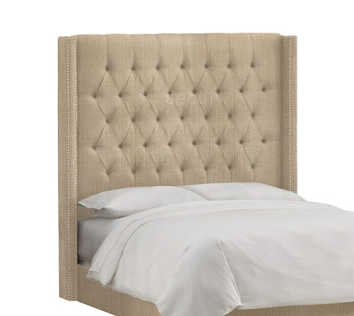 Balmoral Buttoned Linen Winged Headboard - Honey