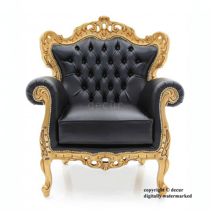 Baroque Gilded Arm Chair - Black