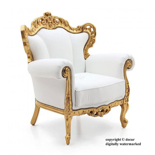 Baroque Gilded Arm Chair - White