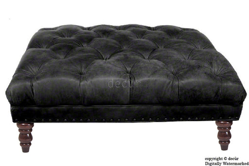 Carrington Buttoned Leather Footstool - Black