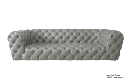 Charles Leather Modern Chesterfield Sofa - Forge Grey