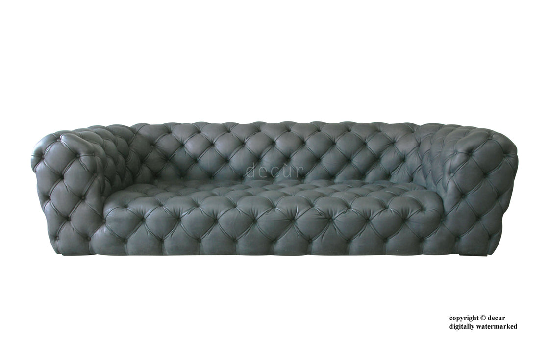 Charles Leather Modern Chesterfield Sofa - Grey