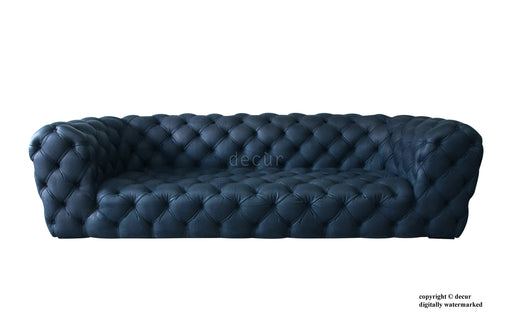 Charles Leather Modern Chesterfield Sofa - Marine Blue