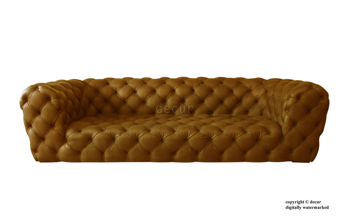 Charles Leather Modern Chesterfield Sofa - Tan