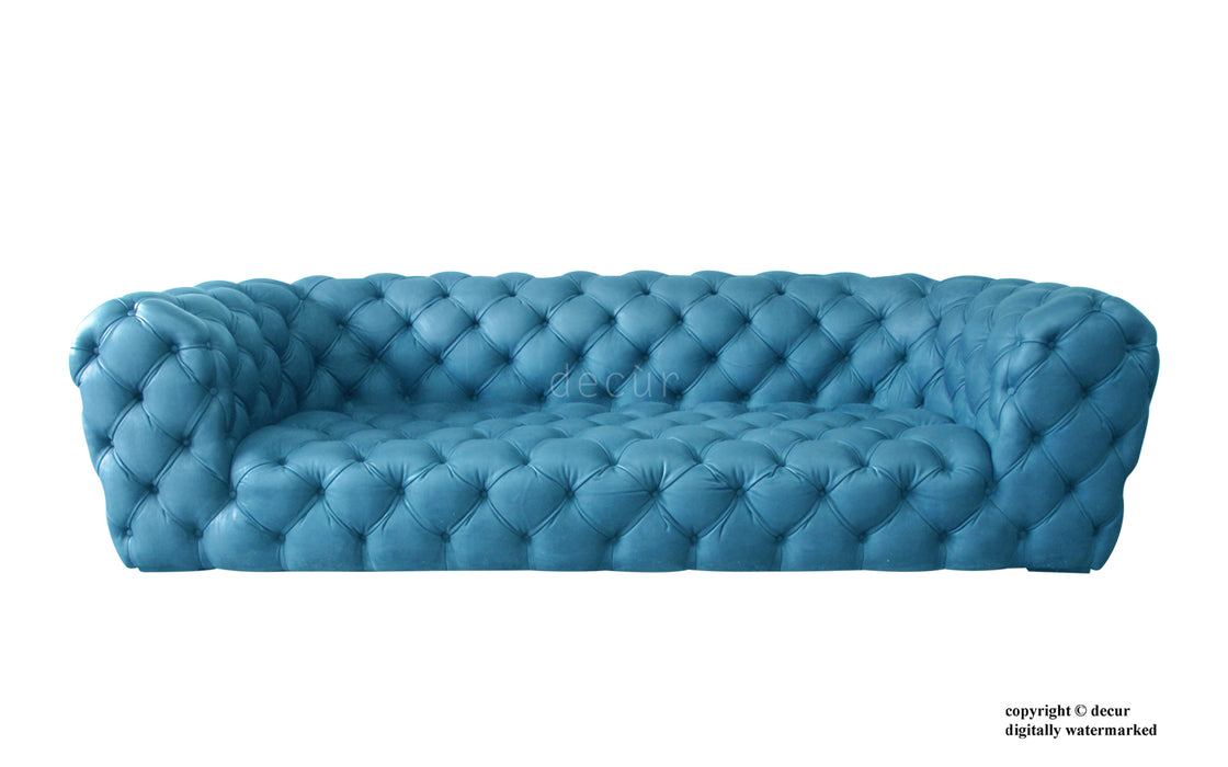 Charles Leather Modern Chesterfield Sofa - Teal
