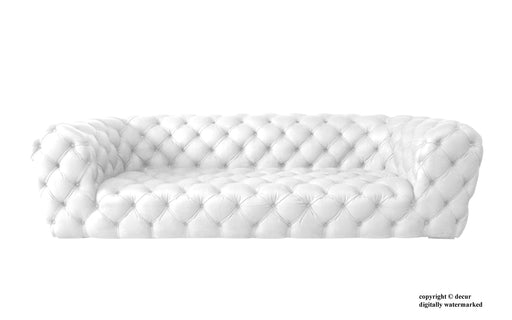 Charles Leather Modern Chesterfield Sofa - White