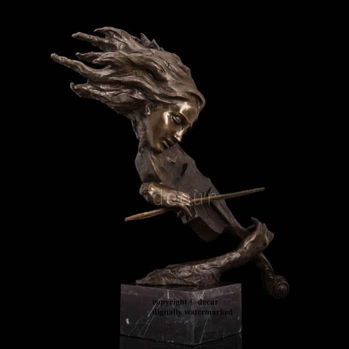 Bronze Sculpture of Beautiful Lady the playing the Violin