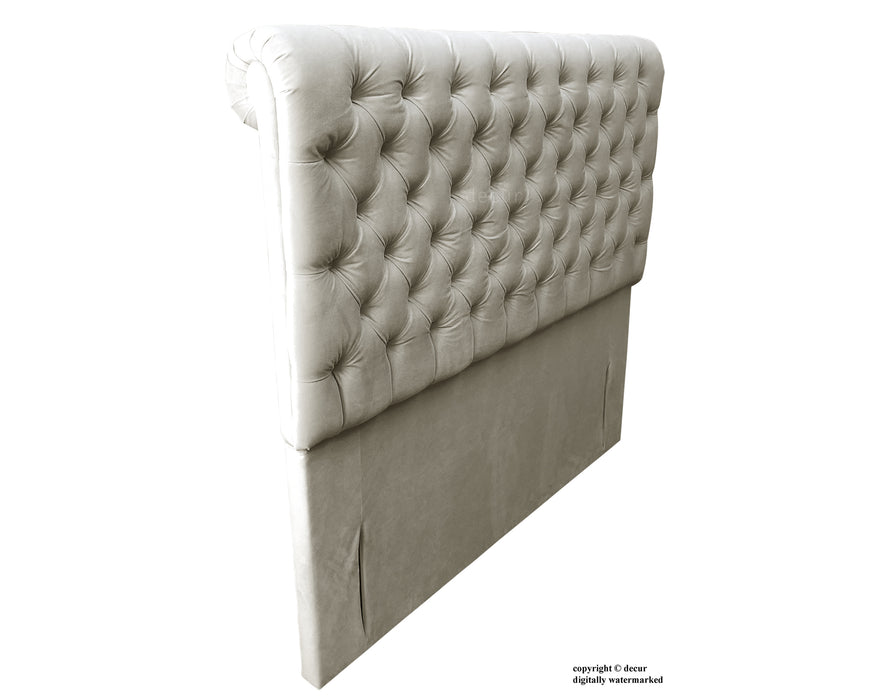 Empress Sleigh Velvet Headboard - Putty