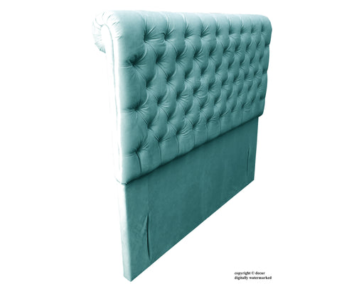 Empress Sleigh Velvet Headboard - Seaspray