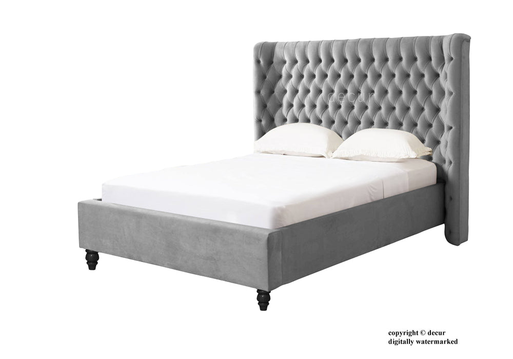 Knightsbridge Upholstered Winged Bed - Silver
