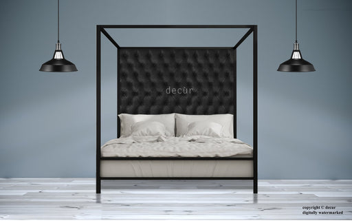 Leather-Four-Poster-Bed-Black