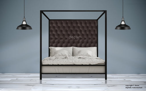 Leather-Four-Poster-Bed-Dark-Brown