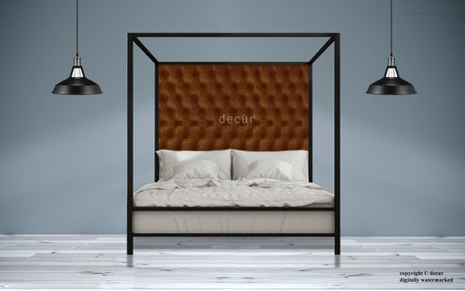 Leather-Four-Poster-Bed-Brown
