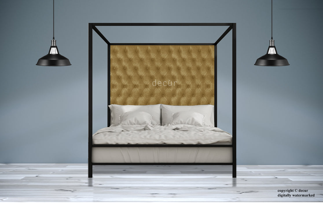 Leather Four Poster Bed - Pale Tan