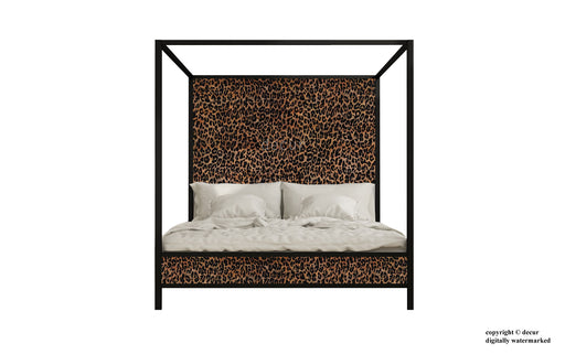 Leopard Print Four Poster Bed