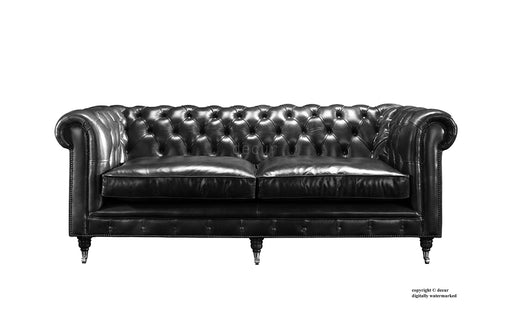 London Chesterfield Leather Sofa - Black