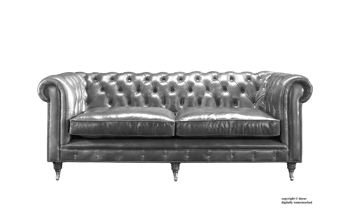 London Chesterfield Leather Sofa - Grey — Decur.co.uk