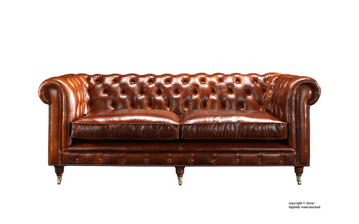 London Chesterfield Leather Sofa - Tan