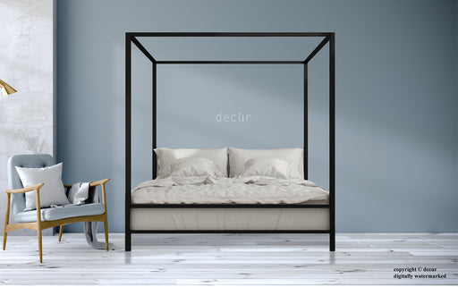 Decur Modern Four Poster Bed - Walnut
