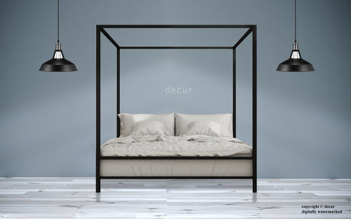 Metal Modern Four Poster Bed - Black