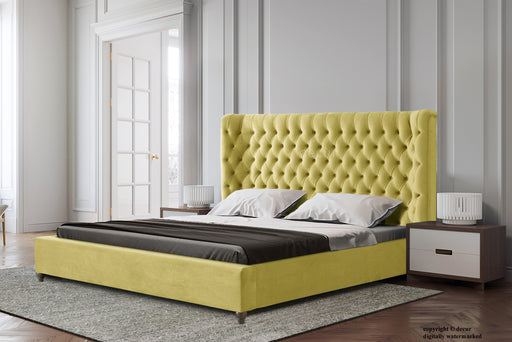 Westminster Upholstered Winged Bed - Lemon