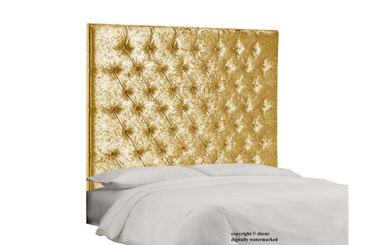 Tiffany Harrogate Buttoned Wall Crushed Velvet Headboard - Gold