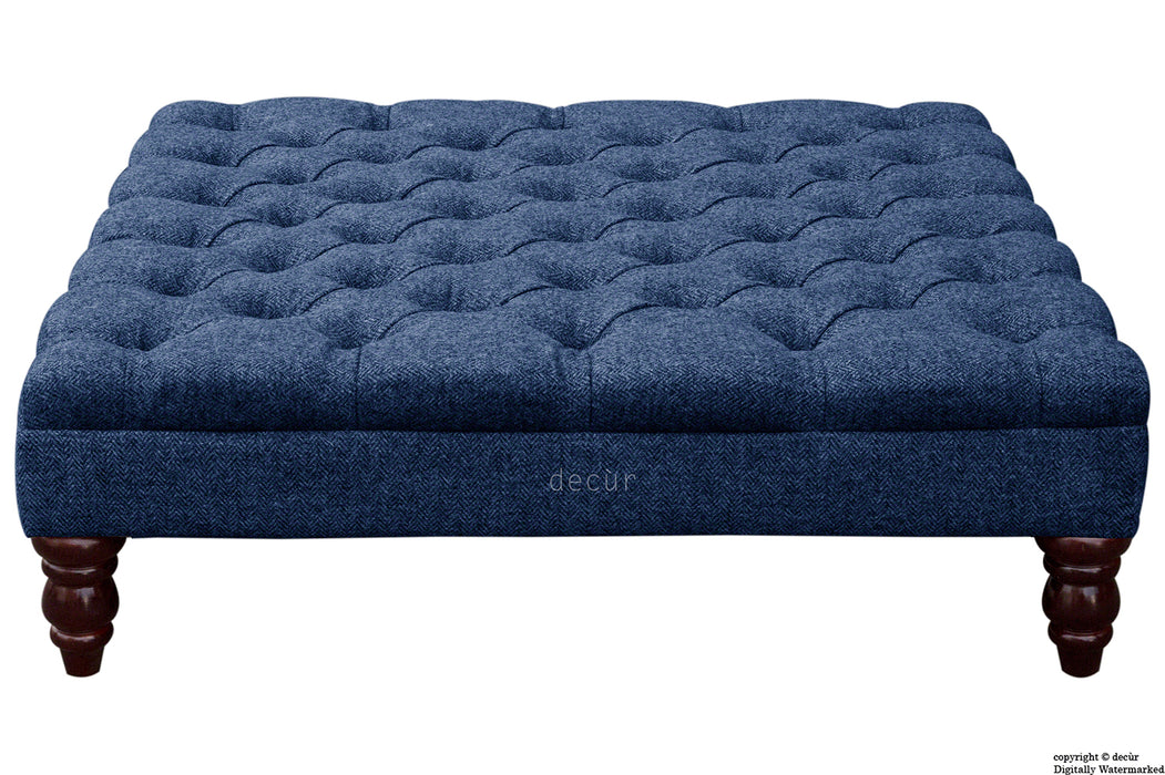 Harris Tweed Buttoned Herringbone Footstool - Ocean Spray