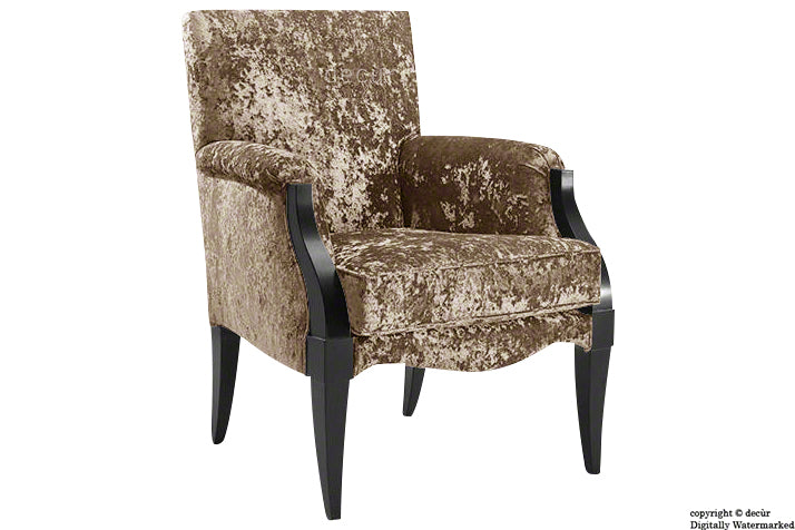 Art Deco Crushed Velvet Arm Chair - Stone